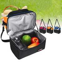6.7L Picnic Bag Waterproof Lunch Shoulder Bag Portable Dual Compartment Camping Thermal Bag Ice Pack