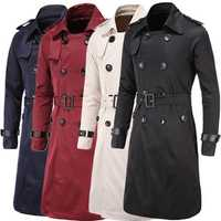 Mens Winter Double-breasted Trench Coat Turndown Collar TopCoat Slim Fit Long Overcoat