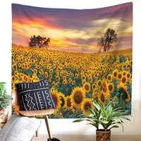 Sunflower Painting Tapestry Wall Hanging Flower Patterned Beach Towel Bedroom Home Decorations