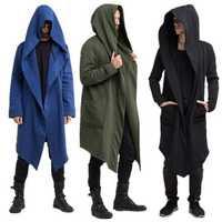 Mens Trendy Hoodie Mid Long Pure Color Cardigan Coats