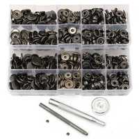 100pcs 15mm Black Snap Fasteners Popper Press Stud Button Leather Tool Kit