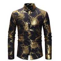 Mens Sequin Rose Printing Long Sleeve Banquet Stage Shirts