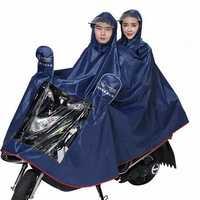 Double Motorcycle Scooter Men Women Rain Coat With Clear Visor Electric Bike 3XL