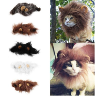 Pet Cat Emulation Lion Hair Mane Ears Head Cap Autumn Winter Dress Up Costume