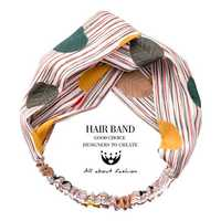 Ladies Chic Colored Leaves Stripes Print Knotted Hair Band