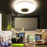 24W Modern Flush Mount LED Ceiling Light Indoor Lamp Fixture with Music bluetooth Speaker AC85-265V