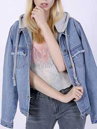 Casual Women Back Embroidery Denim Jacket