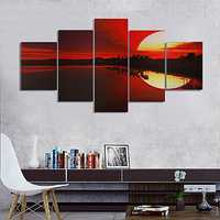 5PCS Frameless Canvas Painting Red Dusk Lakeside Picture Modern Wall Art Home Decor
