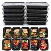 10Pcs Meal Prep Food Containers with Lids Reusable Microwavable Plastic Lunch Box 16oz