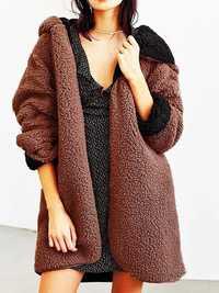 Women Casual Fleece Warm Winter Hooded Two-Face Coats