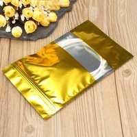 100pcs Gold Aluminum Foil Stand Up Bags Zip Lock Mylar Pouches 12×20cm