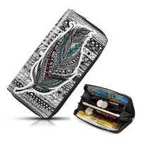 Women National Faux Leather Long Wallet Print Phone Purse