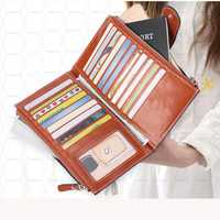 Luxury Genuine Leather Wallet Clutch Purse Long Zipper Wallet with 20 Card Slots