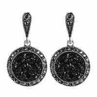 Vintage Ear Drop Earring Black Crystal Round Geometric