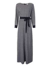 Vintage Elegant Women Plaid Long Sleeve Floor Length Dress With Belt