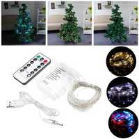 LUSTREON 5M 10M USB Battery Powered LED Fairy String Light with Remote Control for Christmas Holiday