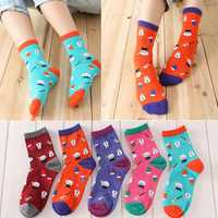 Women Girl Christmas Series Snowman Cotton Cute Casual Soft Socks Hosiery