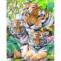 DIY Diamond Painting Lovely 3 Tigers Cross Stitch Crystal Square Diamond Sets Needlework Crafts