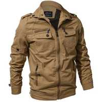 Mens Spring Autumn Outdoor Washed Cotton Jacket Plus Size