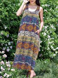 Plus Size Boho Printed Sleeveless Women Long Dress