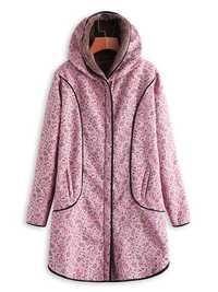 Plus Size Floral Print Zipper Pockets Hooded Long Coats