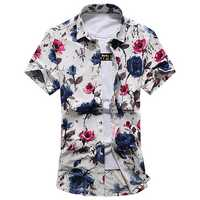 Plus Size Beach Seaside Fashion Flowers Printing Loose Short Sleeve Summer Holiday Shirts for Men