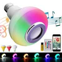 E27 12W Wireless bluetooth RGBW Music Playing Speaker LED Light Bulb with Remote Control AC100-240V