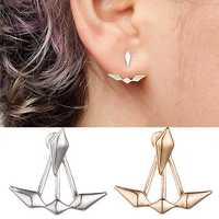 Trendy Gold Silver Geometric Double Side Jacket Ear Stud