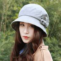 Women Polyester Floral Breathable UV Protection Bucket Cap