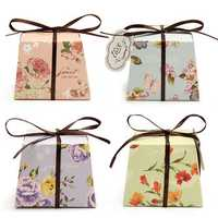 10Pcs Floral Printed Ribbon Card Candy Box Birthday Gift Boxes Wedding Favors Party Supplies