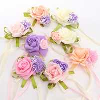 Brides Bridesmaid Wedding Handmade Bouquet Hand Flowers Wrist Corsages Decoration