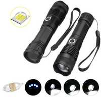 XANES 1287 Suit Zoomable Tactical LED Flashlight XHP50 Highlight With 18650 USB Cable Flashlight Set Telescopic Torch