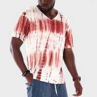 Men Tie Dye Stripe V-Neck Short Sleeve Loose T-Shirts
