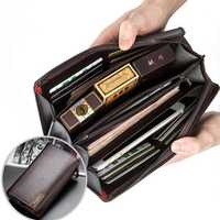Men Large Capacity Leather Handbag Business Leisure Litchi Pattern Zipper Wallet Phone Bag