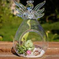 DIY Micro Landscape Hanging Angel Shape Glass Plant Vase Home Garden Party Decoration