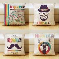 Romantic Modern Simple Pattern Pillow Case Style Nordic Deer Bicycle and Beard Square Throw Pillow Cover