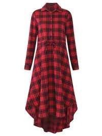 Plaid Drawstring Waist Shirt Dress