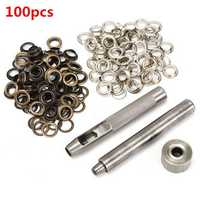 100pcs 8mm Copper Eyelets Hollow Leather Craft Belt Punch Tools Kit
