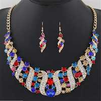 Statement Jewelry Set Colorful Rhinestone Corkscrew Necklace