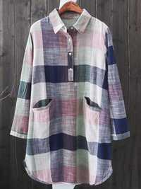 Plus Size Vintage Plaid Long Sleeve Pockets Blouse