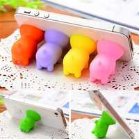 Mini Silicone Cute Pig Shape Sucker Phone Stand Mobile Phone Rubber Holder for Phone Tablet
