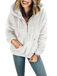 Fleece Fuzzy Long Sleeve Pullovers Zipper Hooded Sweatshirt