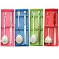 Stainless Steel Cutlery Flatware Tableware Spoon Chopsticks China Style Portable Dinnerware Set
