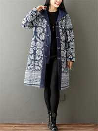 Vintage Printed Thicken Women Hooded Coat
