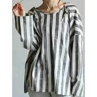Women Long Sleeve Stripe Hooded Loose Casual Blouse