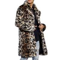 Mens Winter Warm Leopard Faux Fur Coat Suit Collar Mid-long