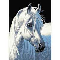3D Diamond Embroidery Walking The White Horse 5D DIY Diamond Painting Cross Stitch Mosaic Decoration DIY Horse Diamond Paintings Embroidery White Horse 5D Diamond Painting Craft Handmade Crafts