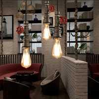 Retro Vintage Industrial Pendant Tube Iron Ceiling Lamp Hanging Chandelier Light
