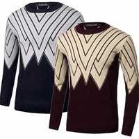 Men Winter Knitting Polyester Round Collar Triangle Long Sleeve Warm Pullover Sweater
