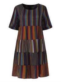 Striped Patchwork Cotton Shirt Dress